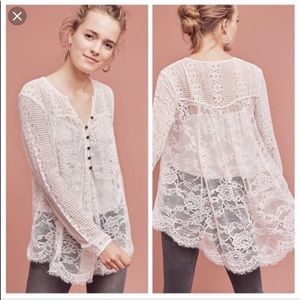 Anthropologie Floreat Lace Top